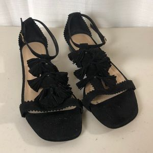 J. Crew Black Suede Tassel Sandals